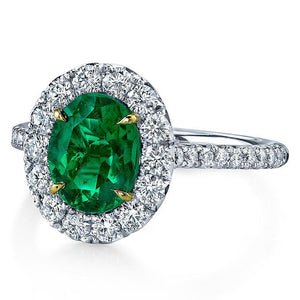 5.50 Carats Emerald And Diamonds Engagement Ring Gold White 14K Gemstone Ring