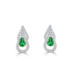 5.50 Carats Pear Emerald With Round Diamonds Drop Earrings White Gold 14K Gemstone Earring