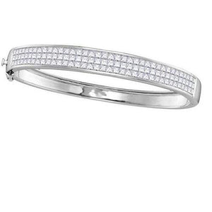 5.50 Carats Princess Diamonds Ladies Bangle Bracelet White Gold 14K Bangle