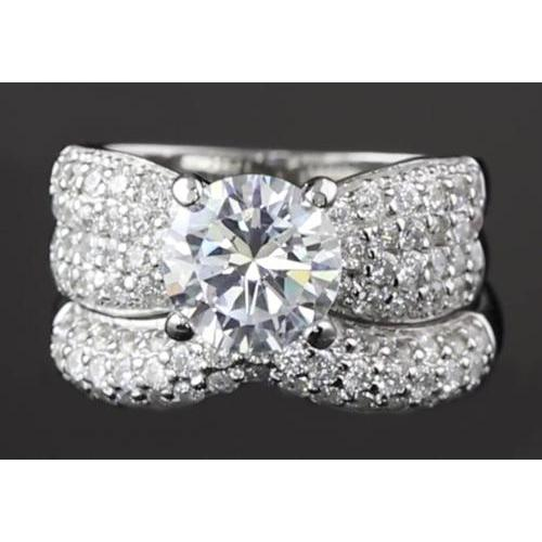 5.50 Carats Ribbon Style Anniversary Ring Set White Gold 14K Engagement Ring Set