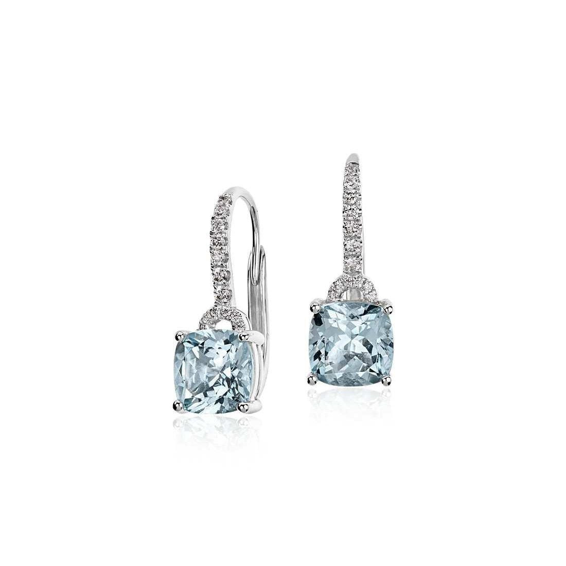 5.50 Ct Prong Set Aquamarine And Diamonds Dangle Earrings 14K Gold Gemstone Earring