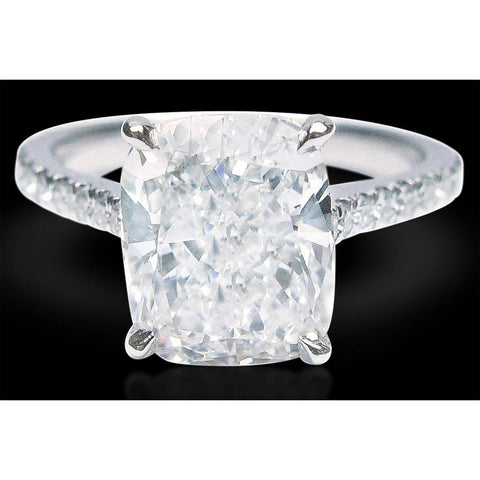 5.75 Cts Solitaire With Accents Cushion Diamond Ring Solitaire Ring with Accents