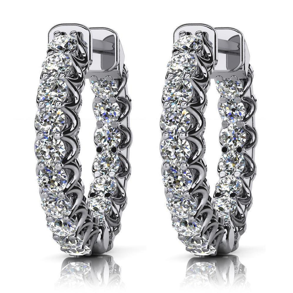 "5.85 Carats 1"" G Vvs1 Natural Diamonds Women Hoop Earrings Gold White 14K One Inch Diameter Hoop Earrings"