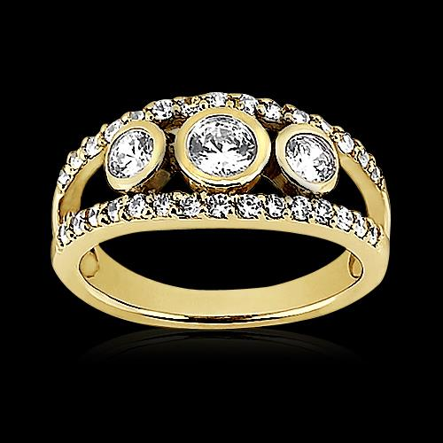 Engagement Ring Round Diamond Ring 1.46 Ct Yellow Gold Split Shank Jewelry New