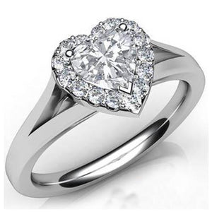 5.90 Ct White Gold 14K Heart Cut With Round Halo Diamond Ring Halo Ring