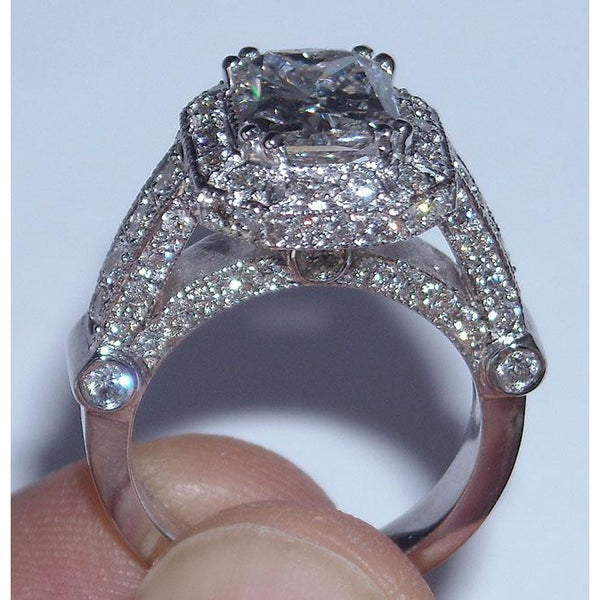 8.51 Carat Diamond Engagement Ring Band Set Radiant Cut