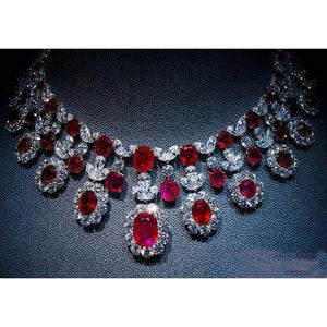 59.50 Carats Ruby And Diamonds Women Necklace White Gold 14K Gemstone Necklace