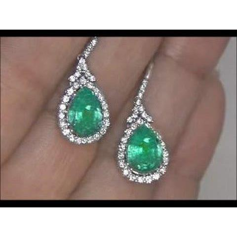 6 Carats Emerald And Diamond Dangle Earring Pair White Gold 14K Gemstone Earring