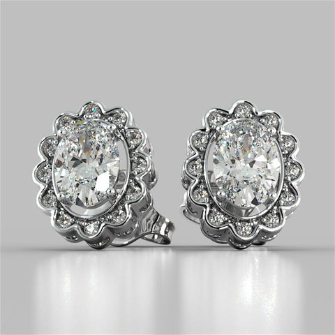 6 Carats Oval And Round Halo Diamond Lady Stud Earring White Gold 14K Halo Stud Earrings