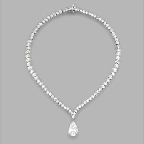 6 Carats Pear And Round Diamond Ladies Necklace White Gold Necklace