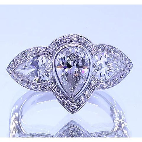 6 Carats Pear Diamond Anniversary Ring Vintage Inspired White Gold 14K Three Stone Three Stone Ring
