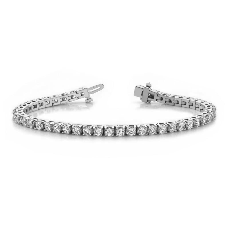 6 Carats Prong Set Round Diamond Basic Tennis Bracelet 14K White Gold Tennis Bracelet