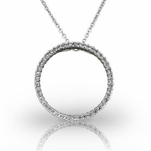"6 Ct Brilliant Cut Diamonds Circle Pendant Necklace 1.75"" White Gold 18K Pendant"