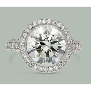 6 Ct White Gold Round Diamonds Solitaire With Accents Halo Ring Halo Ring