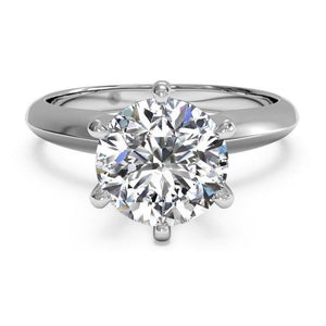 6 Prong Set Solitaire Round Diamond Wedding Ring White Gold 14K Solitaire Ring