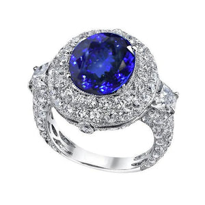 6.01 Ct Tanzanite AAA Oval And Diamonds Ring White Gold 14K