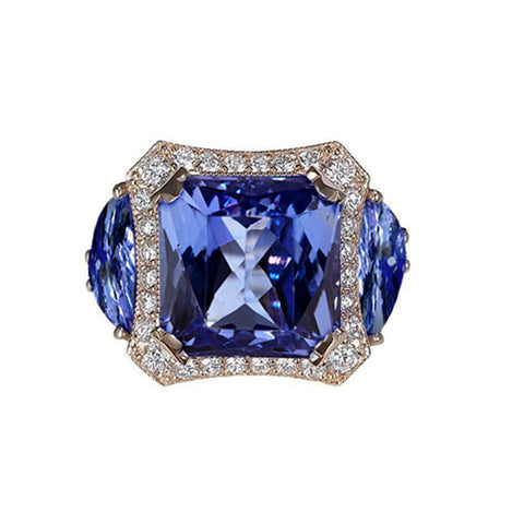 6.76 Carat Radiant AAA Tanzanite And Round Diamonds Ring Gold