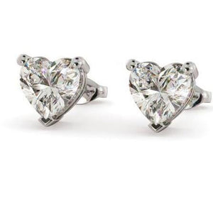 6.00 Ct Prong Set Heart Cut Diamonds Studs Earrings White Gold Stud Earrings