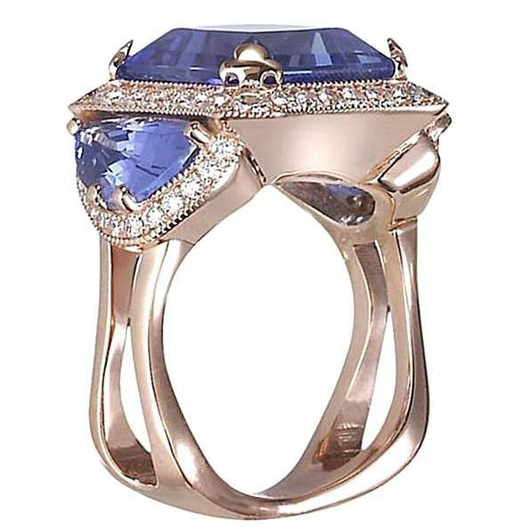 6.01Ct Tanzanite AAA Round Diamonds Ring White Gold 14K Gemstone Ring
