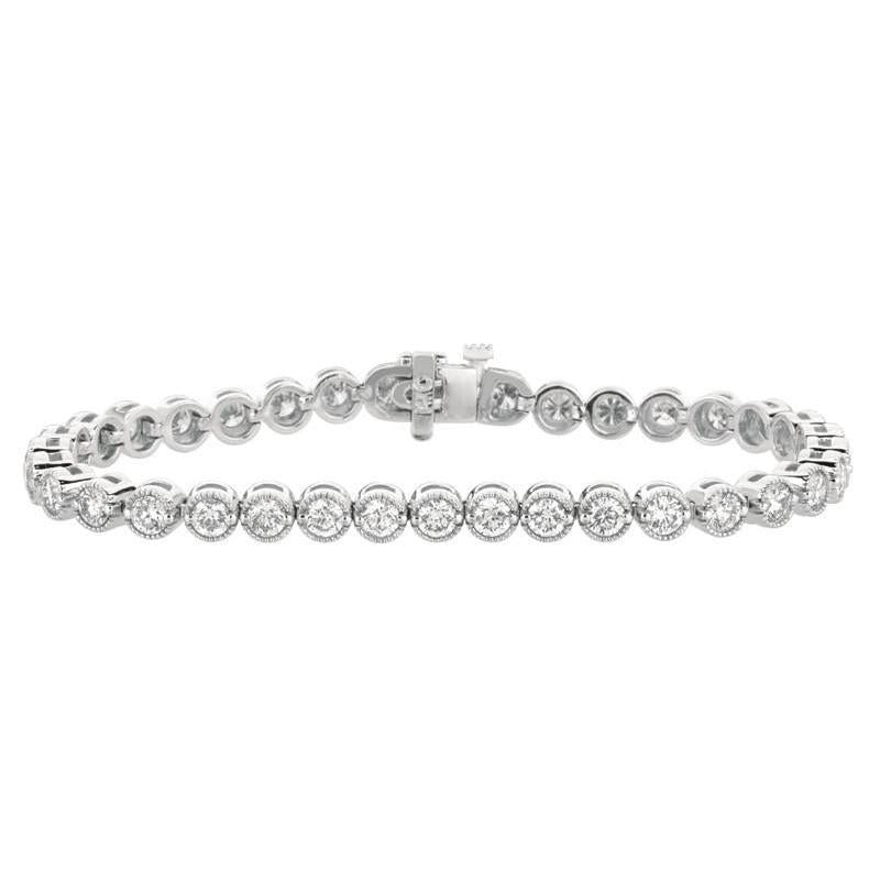 6.04 Carat Round Diamonds White Gold 14K Prong Setting Bracelet New Tennis Bracelet