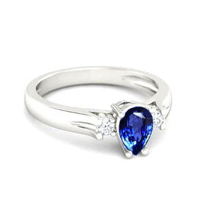 1.70 Ct Pear Cut Sri Lanka Sapphire And Round Diamonds Ring Gold 14K