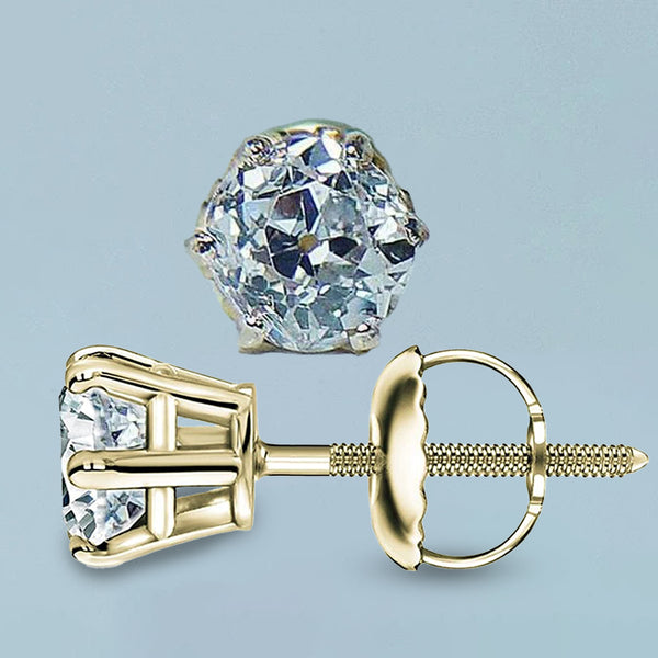 2 Carats Old Miner Round Diamond Stud Women Earring Yellow Gold