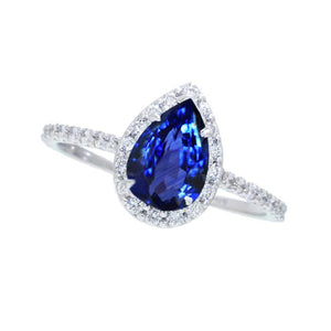 2.30 Carats Pear Cut Sri Lanka Blue Sapphire & Round Diamond Ring