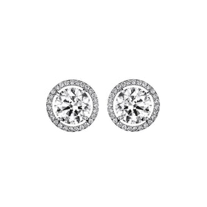 6.20 Carats Gorgeous Round Cut Diamonds Stud Halo Earrings Gold White 14K Halo Stud Earrings