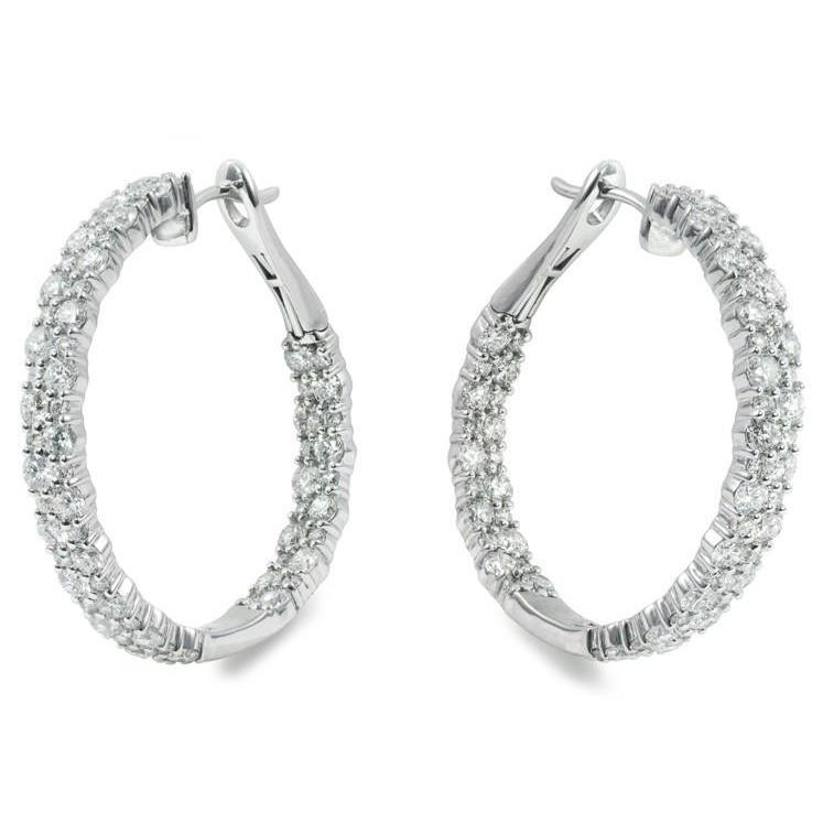 6.20 Carats Round Brilliant Cut Diamonds Lady Hoop Earrings 14K Gold Hoop Earrings