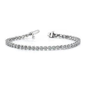 6.3 Carats Round 3 Prong Set Diamond Tennis Bracelet Solid White Gold Tennis Bracelet
