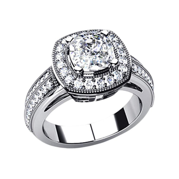 6.5 Carat Cushion Diamond Halo Setting Ring Platinum Halo Ring
