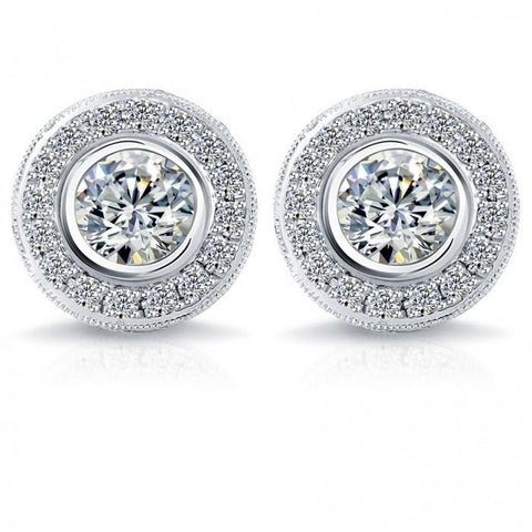 6.5 Carat Pave Halo Diamond Stud Earring White Gold Fine Jewelry Halo Stud Earrings