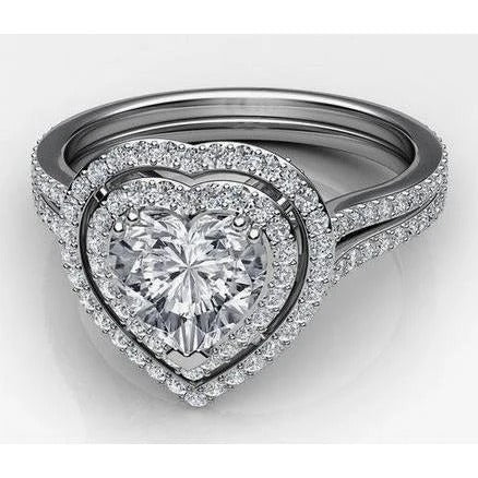 Heart And Round Double Halo Diamond Ring 6.55 Carats White Gold