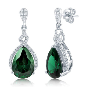 6.50 Carats Emerald And Diamonds Ladies Dangle Earrings White Gold Gemstone Earring