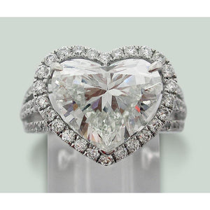 6.50 Ct. Heart Diamond Solitaire Halo Accents Ring Halo Ring