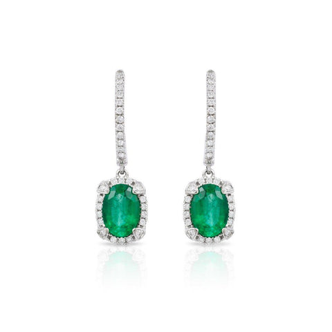 6.50 Ct. Oval Cut Emerald With Round Diamonds Dangle Earrings White Gold 14K Gemstone Earring