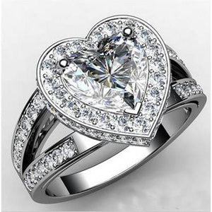 6.60 Carats Heart Cut With Round Halo Diamond Ring White Gold 14K Halo Ring