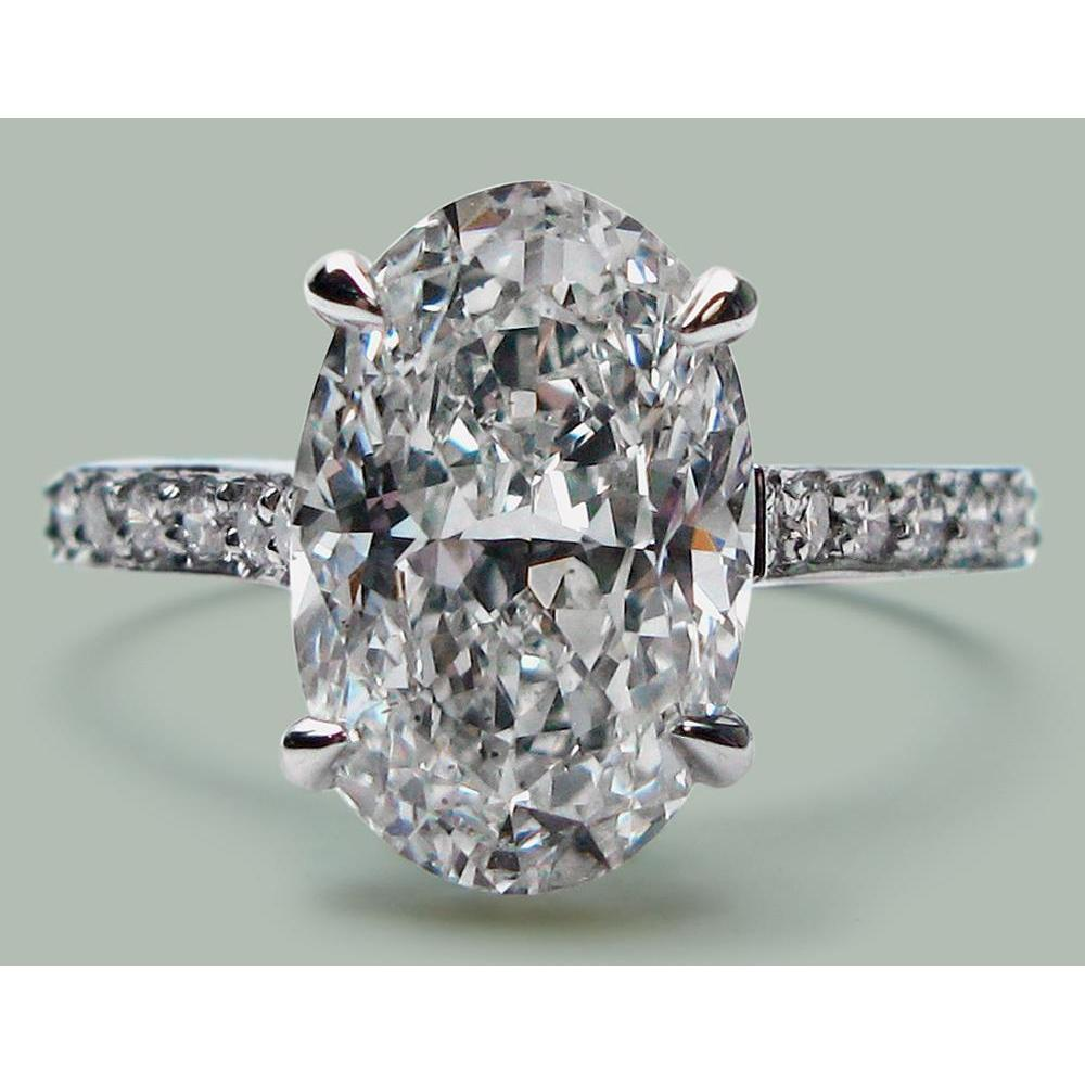 6.75 Carats Oval Diamond Wg 14K Solitaire With Accents Ring Solitaire Ring with Accents