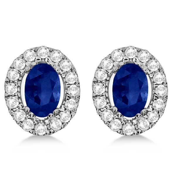 6.80 Carats Blue Sapphire And Diamond Stud Earring Halo Set Gemstone Earring
