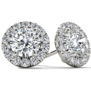 6.80 Ct Ladies Halo Round Cut Diamonds Stud Earrings Halo Stud Earrings