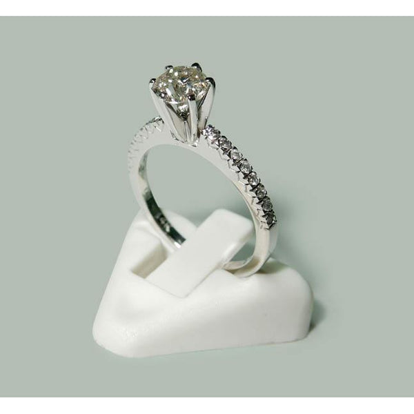 Solitaire Ring with Accents 1.35 Carats Round Diamond Anniversary Ring 14K White Gold Solitaire