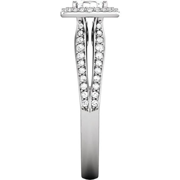 Halo Ring 14K White Gold Marquise Halo Styled Engagement Ring 1.75 Carats