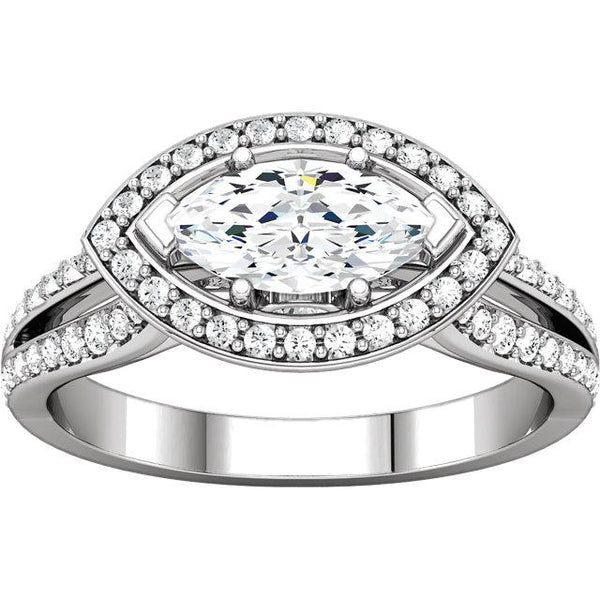 14K White Gold Marquise Halo Styled Engagement Ring 1.75 Carats Halo Ring