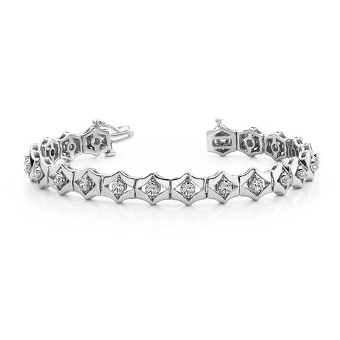 7 Carats Round Prong Set Box Diamond Bracelet White Gold 14K Jewelry Tennis Bracelet