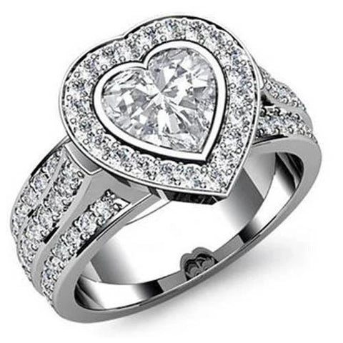 7 Ct Halo Round With Heart Shape Diamond Ring Solid White Gold 14K Halo Ring