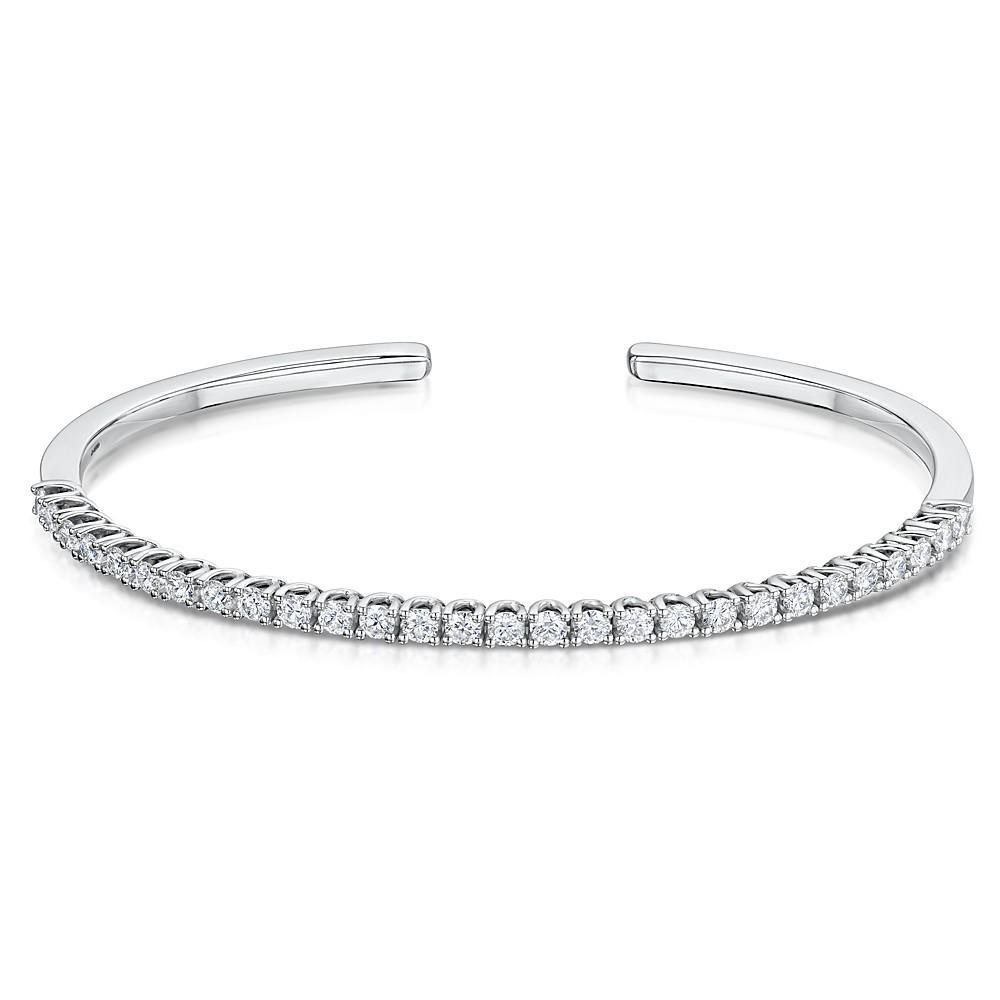 7 Ct Round Brilliant Cut Diamond Bangle Bracelet Solid 14K White Gold Bangle