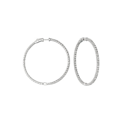 7 Pointer Diamond Hoop Earrings 7.75 Carats 14K White Hoop Earrings
