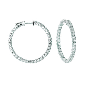 7 Pointer Hoop Earrings/Patented Snap Lock 4.5 Carats 14K White Hoop Earrings