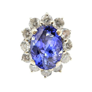 Sparkling Oval Aaa Tanzanite And Diamonds Ring 7.51 Carat