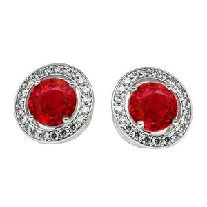 7.10 Carats Ruby And Diamonds Women Halo Studs Earrings White Gold 14K Gemstone Earring